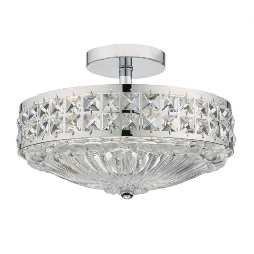 Olona 3 Light Semi Flush Polished Chrome And Clear Crystal (Class 2 Double Insulated) BXOLO5350-17